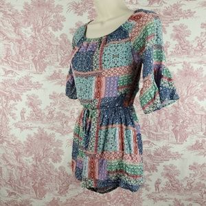 Hollister Romper Size S Bell Sleeves Patchwork